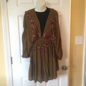 Free People Olive Green Deep V Embroidered Dress